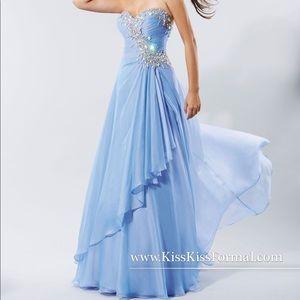 Kiss Kiss #P3716 Lavender Chiffon Beaded Gown